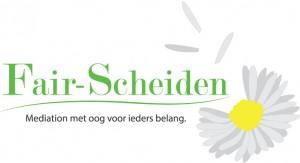 Dit is het logo van Fair-Scheiden met als tagline oftewel onderschrift: Mediation met oog voor ieders belang